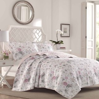 Laura Ashley Breezy Floral Quilt Set Full/Queen Size (As Is Item)