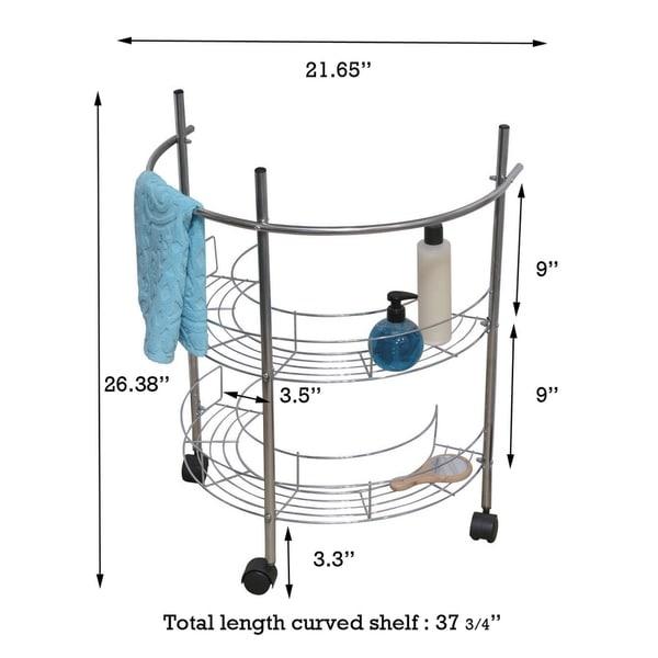 Pedestal Sink Storage Shelf Chrome Bathroom Rack Under Washbasin Bath Organizer