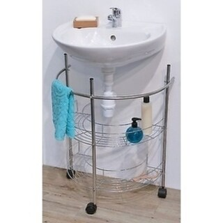 Evideco Rolling Pedestal Under Sink Organizer Metal Chrome