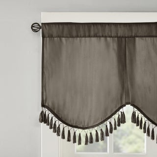 Madison Park Laverne Faux Silk Solid 3 Tier Scallop Embellished Lined Valance