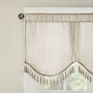 Madison Park Laverne Faux Silk Solid 3 Tier Scallop Embellished Lined Valance