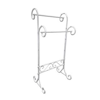 Evideco Freestanding 2 Bars Towel Rack Metal Vintage Le Bain Old White