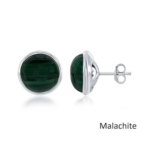 La Preciosa Sterling Silver Round Natural Malachite Bezel Set Stud Earrings