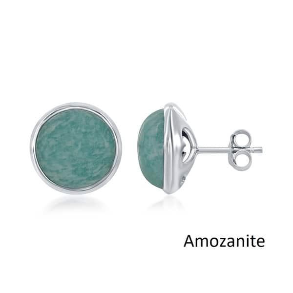 925 Sterling Silver 5 Row Turquoise Stone Half Eternity Hoop Stud Post Earrings
