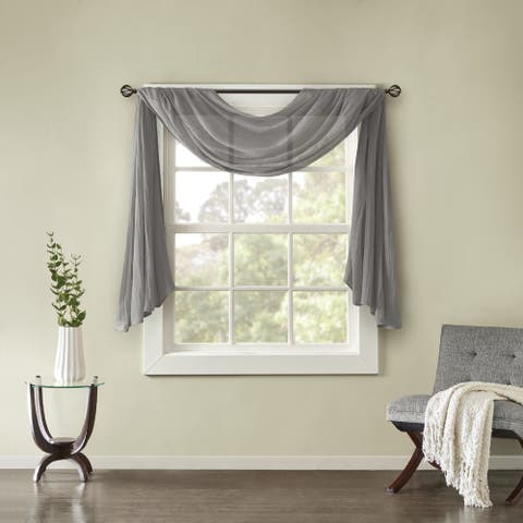 Madison Park Kaylee Solid Lightweight Crushed Sheer Curtain Scarf