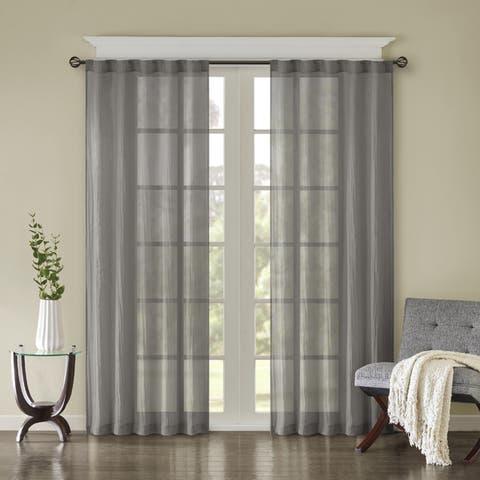 Madison Park Kaylee Solid Crushed Sheer Window Curtain Pair