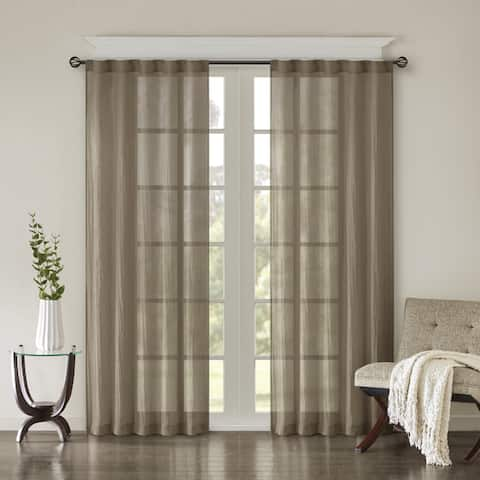 Madison Park Kaylee Solid Crushed Sheer Window Curtain Pair