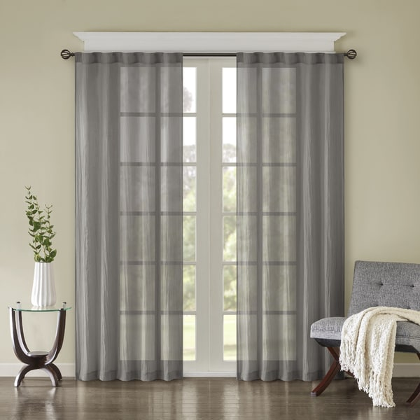 Madison Park Kaylee Solid Crushed Sheer Window Curtain Pair. Opens flyout.