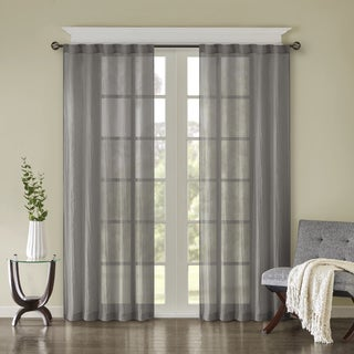 Madison Park Kaylee Solid Lightweight Crushed Sheer Window Curtain Pair