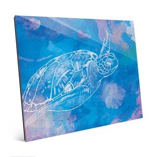 Sea Turtle Swimming Blue Wall Art Print on Acrylic