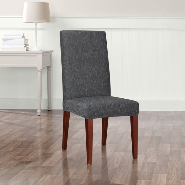 Stretch Dining Room Chair Slipcovers shop sure fit stretch denim short dining room chair slipcover - free