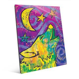 Wild Rainbow Wolf Howl Wall Art Print on Acrylic