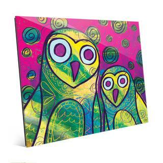 Wild Colorful Owls Wall Art Print on Acrylic