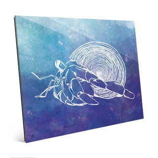 Hermit Crab on Blue Wall Art Print on Acrylic