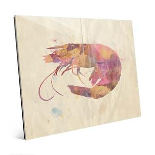 Fancy Watercolor Shrimp Wall Art Print on Acrylic