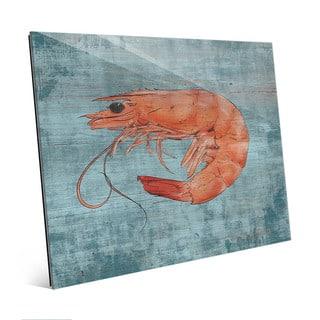 Fresh Shrimp on Blue Wall Art Print on Acrylic