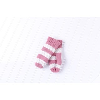 Tickled Pink Faux Fur Lined Mittens Lightweight Striped - Pink
