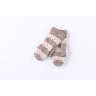 Tickled Pink Faux Fur Lined Mittens Lightweight Striped - Taupe
