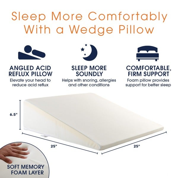 cheer collection ultra supportive memory foam bed wedge pillow free shipping today