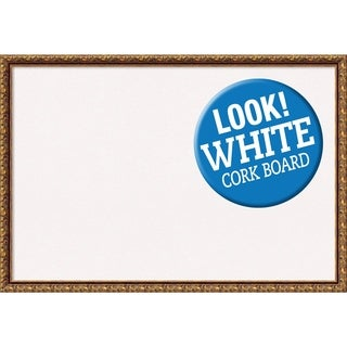 Framed White Cork Board, Antique Bronze