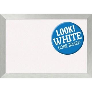 Framed White Cork Board, Brushed Sterling Silver