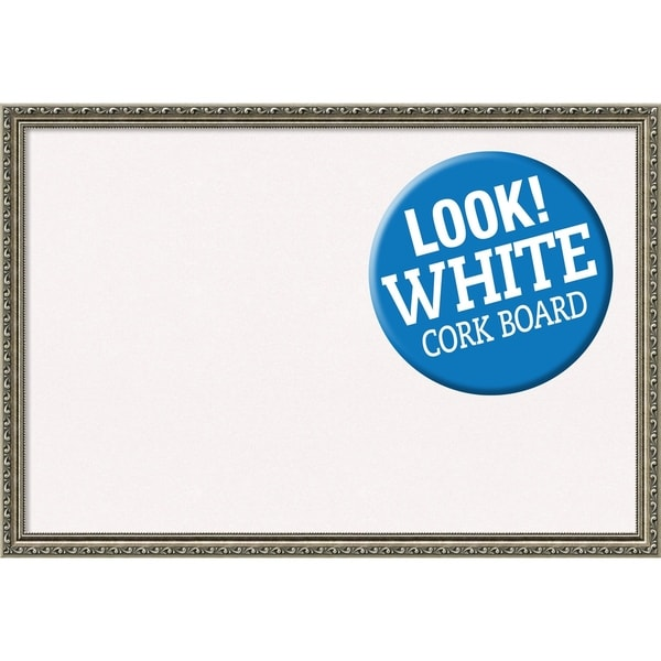 Framed White Cork Board, Parisian Silver