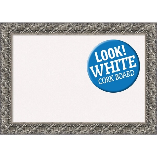 Framed White Cork Board, Silver Luxor