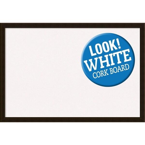 Framed White Cork Board, Espresso Brown