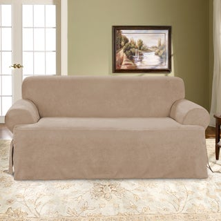 Sure Fit Soft Suede One Piece T-Cushion Sofa Slipcover