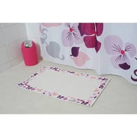 Evideco Printed Border Cotton Bath Mat Home Rug Design SOFTIES Purple