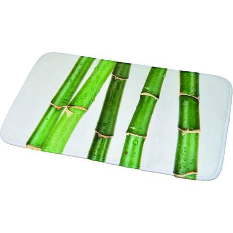 Printed Microfiber Mat Bath Rug Bamboo Ecobio Green 17 W x 29.5 L
