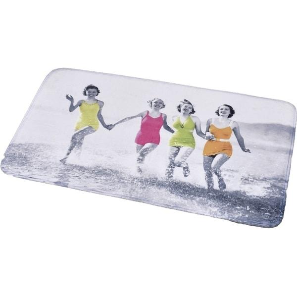 Evideco Microfiber Large Bath Mat Design Women on the Beach Gray Rug