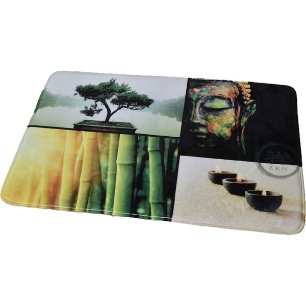 Evideco Microfiber Large Bath Mat Design Madurai Brown Rug