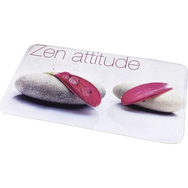 Evideco Microfiber Large Bath Mat Design ZEN Attitude White Rug