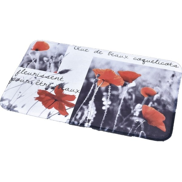 Evideco Microfiber Large Bath Mat Design POPPY White Red Rug