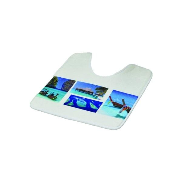 Evideco Pedestal Toilet Mat Contour Rug Design PARADISE Blue