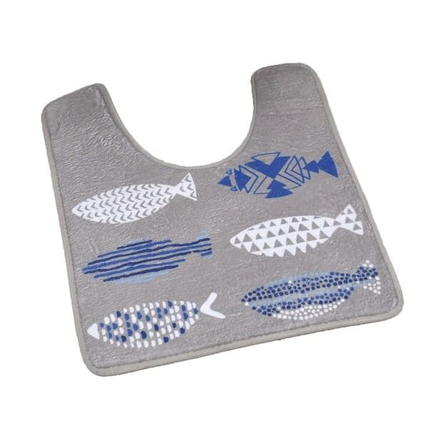 Evideco Pedestal Toilet Mat Contour Rug Design Nautical Blue Mat