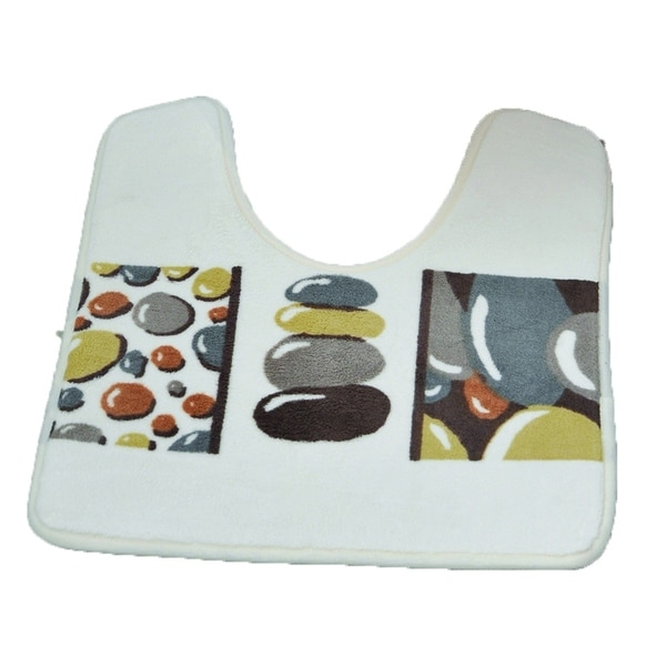 Evideco Microfiber Toilet Contour Mat BELLE ILE Gray Bath Rug