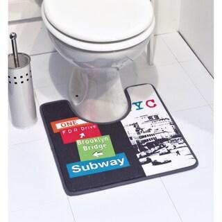 Evideco Pedestal Toilet Mat Contour Rug Design URBAN NYC Multicolored