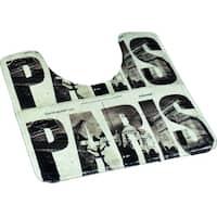 Evideco Pedestal Toilet Mat Contour Rug Design CAFE PARIS Gray