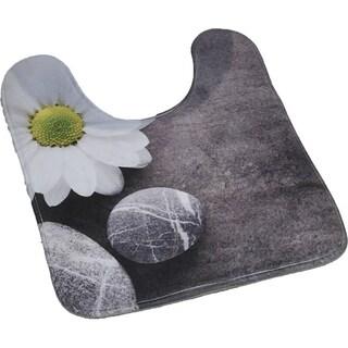 Evideco Pedestal Toilet Mat Contour Rug Design ZEN GARDEN Gray Mat