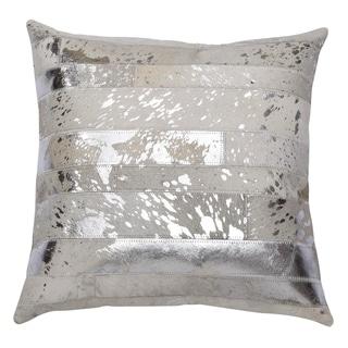"""Matador 18"""" Silver Leather Hide Hair On Pillow"""