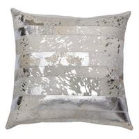 "Matador 18"" Silver Leather Hide Hair On Pillow"
