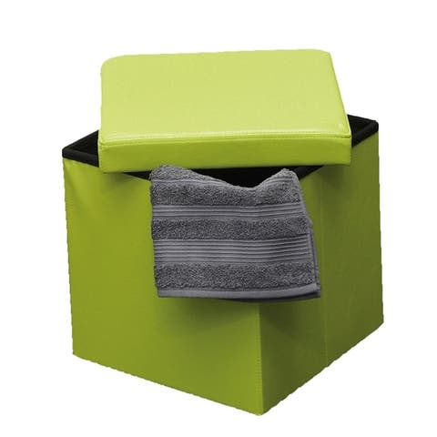 Evideco 2 in 1 Foldable Pouffe and Ottoman Storage Cube Faux Leather