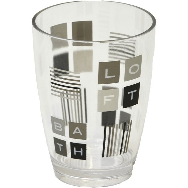 Evideco Clear Acrylic Printed Bath Tumbler Design Peace and Loft
