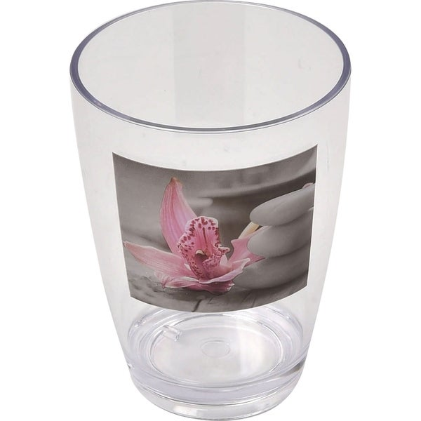 Evideco Clear Acrylic Printed Bath Tumbler Design Chic and Zen