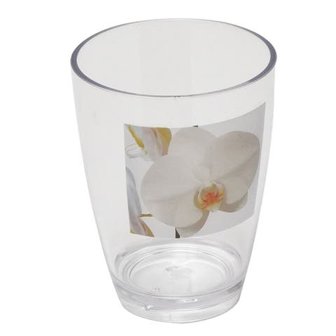 Evideco Clear Acrylic Printed Bath Tumbler Design Purity Orchid - White,Yellow - 2.95 L x 2.95 W x 4.13 H