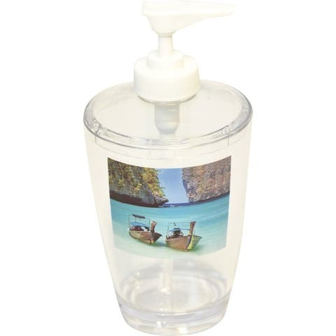 Evideco Clear Acrylic Soap Dispenser Lotion Pump Design Paradise - Blue, Green, Brown, Multicolor - 2.95 L x 2.95 W x 6.50 H