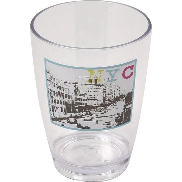 Evideco Clear Acrylic Printed Bath Tumbler Design Urban NYC
