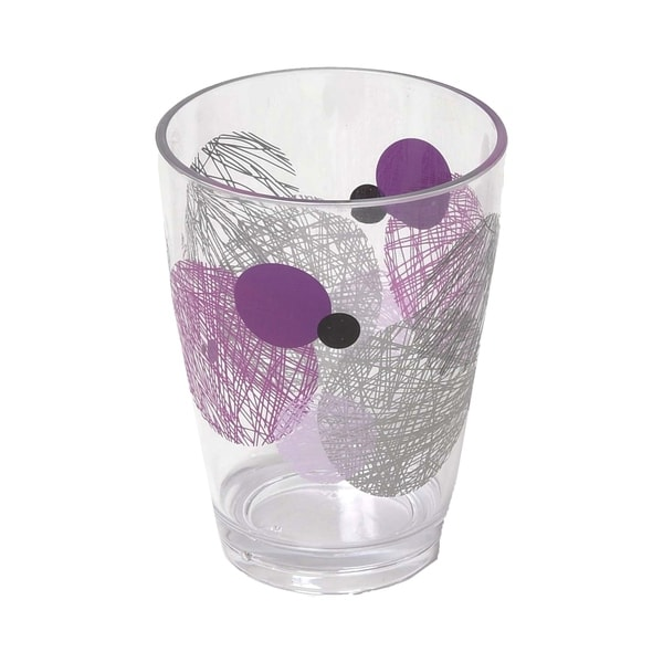 Evideco Clear Acrylic Printed Bath Tumbler Design Valentine Purple